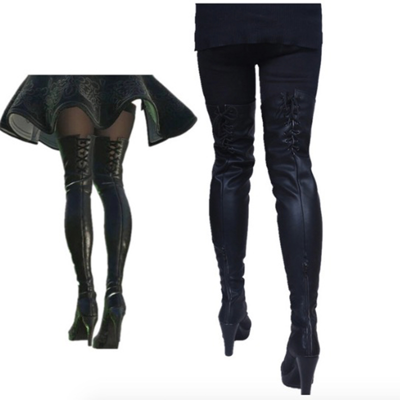 Game NieR:Automata Cosplay Shoes Women Boots 2B YoRHa 2 Gou B Gata Cosplay Shoes PU Boots Halloween Carnival Party High Heels