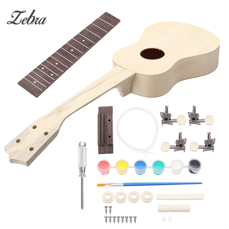 Zebra 21 Inch Simple Ukulele DIY Kit Unfinished Hawaii Guitar Handwork Support Painting Children's Toy Assembly for Amateur