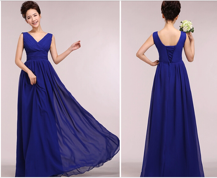 Aliexpress.com : Buy Royal Blue Chiffon Dress Long Bridesmaid ...