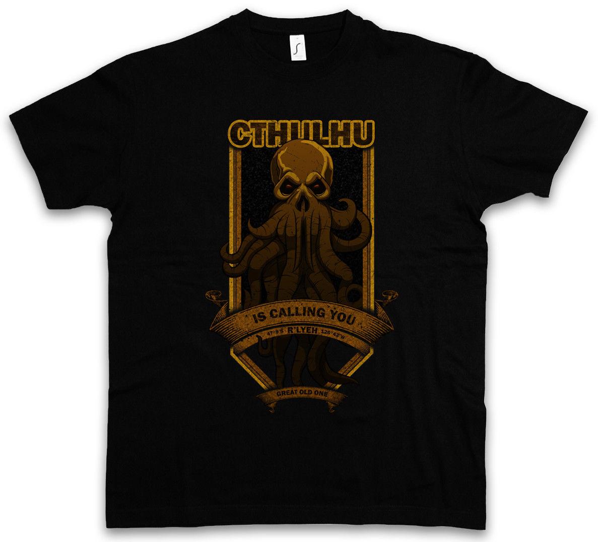 2018 mens fashion T-Shirt CTHULHU IS CALLING YOU - Wars Horror Arkham H. P. Lovecraft Miskatonic S - 5XL