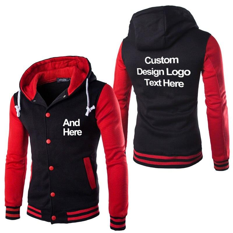 COYOUNG Brand High Quality Print Diy Custom Design Stylish Men Casual Hoodies Cool Slim Baseball Jacket Coat Drop shipping
