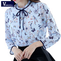 2017 Woman Chiffon Blouse 3/4 Sleeve New Arrivals Casual Fashion Ruffled Print Floral Tops Women's Spring Summer Shirts