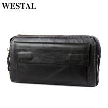 WESTAL Hot Sale Men Wallets Genuine Leather Coin Zipper Pocket Men's Long Wallet  Male Clutch Bags Man Purse Small Hand Bag 9032