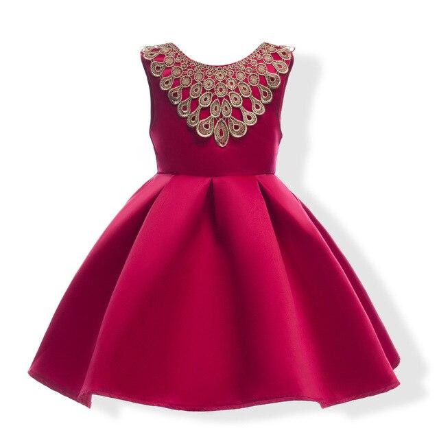 521e0b6b57094 Grand Arc Cravate Fille Robe Enfants Rouge et Bleu couleur Papillon Filles  De Mariage Robe Enfants