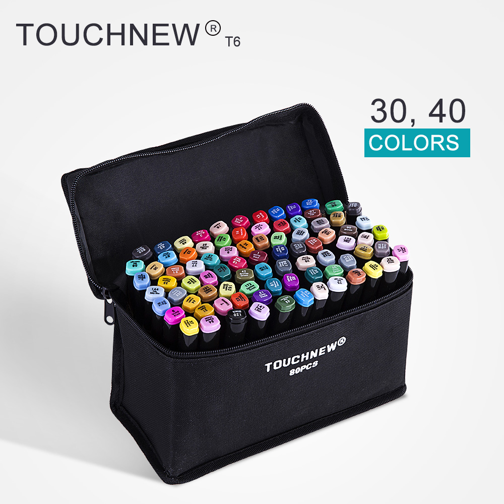 TOUCHNEW T6 30/40 colors dual tips black barrel sketch markers black bag for drawing painting design manga art supplies touchnew t6 60 80 colors dual tip black barrel sketch markers camouflage bag for drawing painting design manga copic
