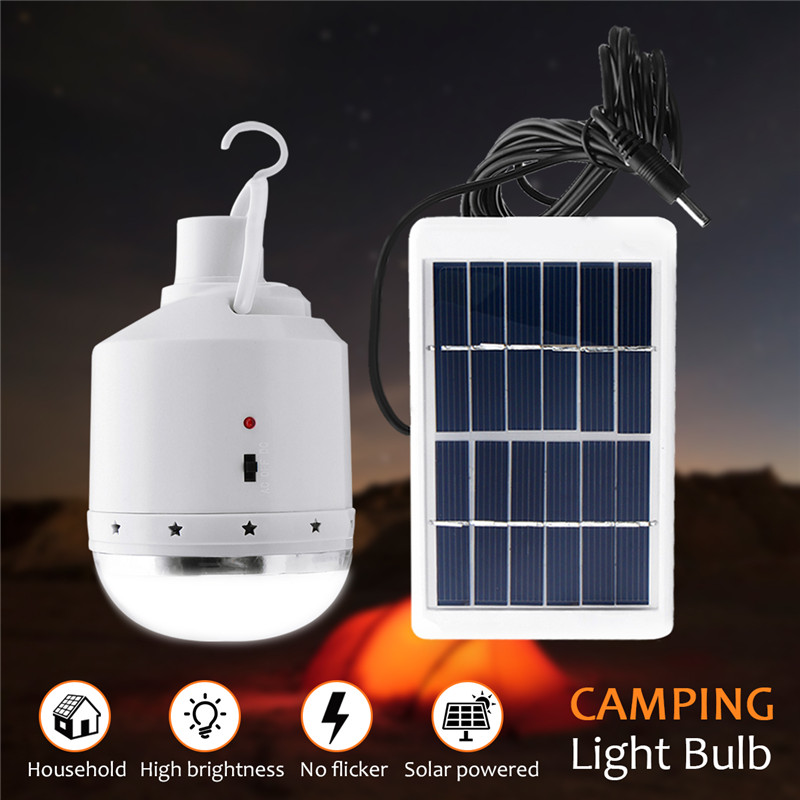 6V Solar Power Outdoor Light 1W Portable Solar Panel Power LED Bulb Emergency Light Outdoor Camping Tent Lantern