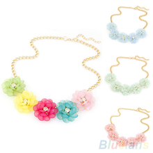 Bluelans Sweet Women's Fresh Style 5 Big Flowers Candy Color Chain Statement Collar Pendant Necklace