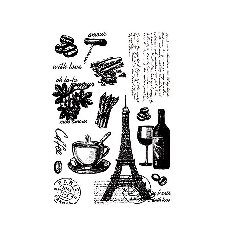 Enjoy Travel to Paris Clear Stamps for Scrapbooking DIY Silicone Seals Photo Album Embossing Folder Paper Maker Template Decor