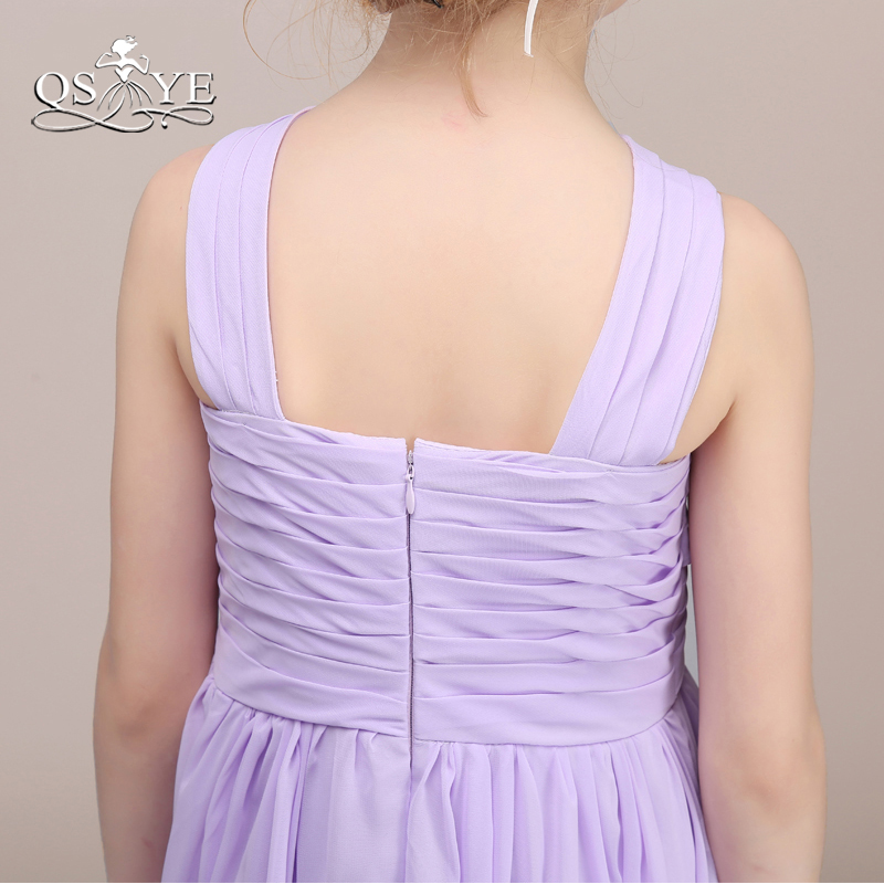 QSYYE filles violet clair robes de demoiselle d'honneur une ligne plis en mousseline de soie longueur de plancher robe de soirée pour mariage sur mesure - 5