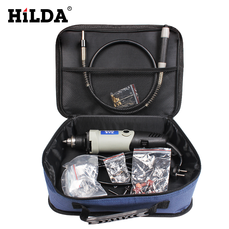 HILDA 25pcs 400W  Dremel style Cnc tool Mini Drill with Flexible Shaft and Accessories Electric Variable Speed Woodworking Tools hilda 400w mini electric drill with 6 position variable speed dremel rotary tools with flexible shaft and 94pcs accessories