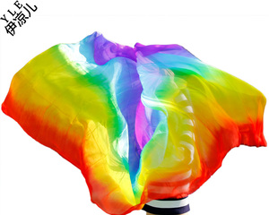 Image 2 - New design women 100% real silk belly dance veil cheap belly dancing veils accessories rainbow