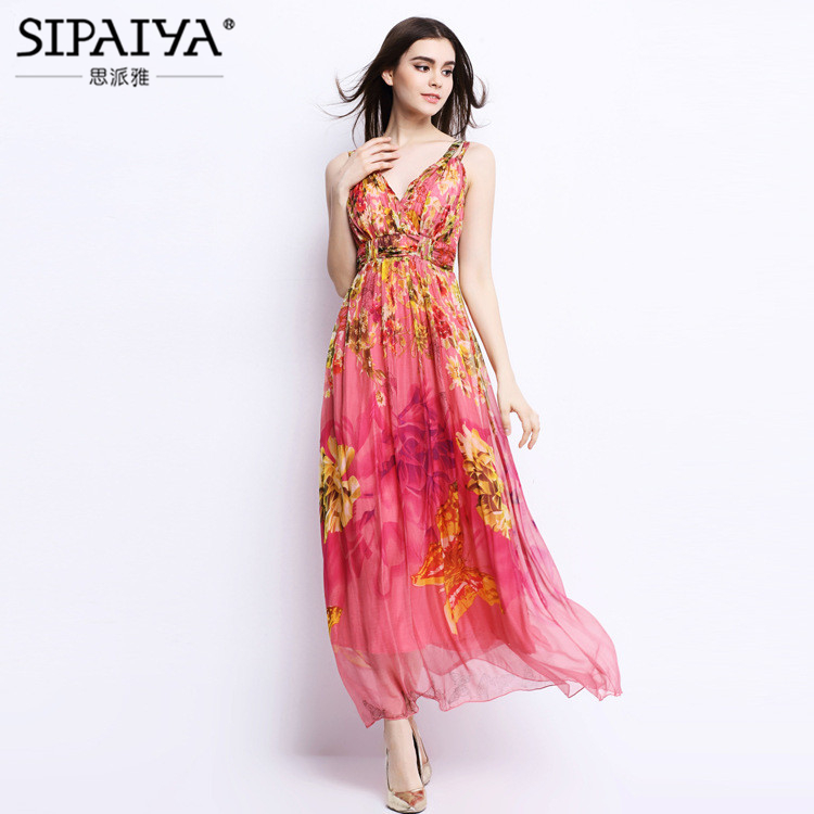 Brand Women Clothes Women Summer Style V-neck Floral Print Long Bohemian Beach Dress Sexy Strapless Maxi Silk Dress