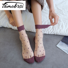 Transparent Summer Sheer Fashion Socks Womens Shiny Mesh Sexy Glitter Short Candy Cotton Cute Casual Women Female