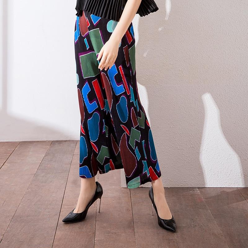 Plisado Nuevo Moda Pierna Verano Libre Mujeres Suelta Blue Señora Impresión Marea Tamaño Pantalones qE5rqtWw4c