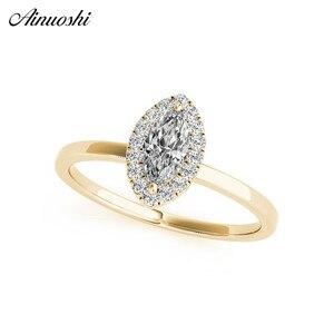 Женские кольца из стерлингового серебра 925 пробы, желтое золото, цвета, кольцо Marquise Halo, обручальное кольцо, вечерние ювелирные изделия для де...