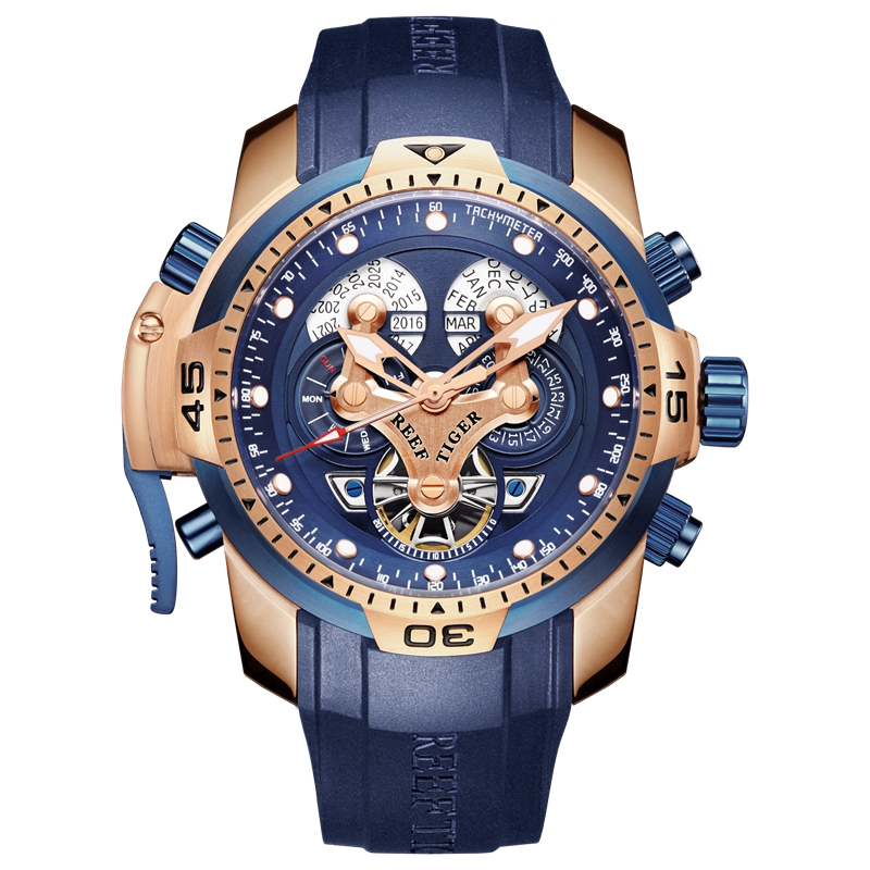 Reef Tiger/RT Top Brand Luxury Sport Watch Men Rose Gold Military Watches Blue Rubber Strap Automatic Waterproof Watches RGA3503 機械 式 腕時計 スケルトン