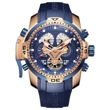 リーフ虎/RT トップブランドの高級スポーツ腕時計メンズローズゴールド軍事腕時計ブルーラバーストラップ自動防水腕時計 RGA3503