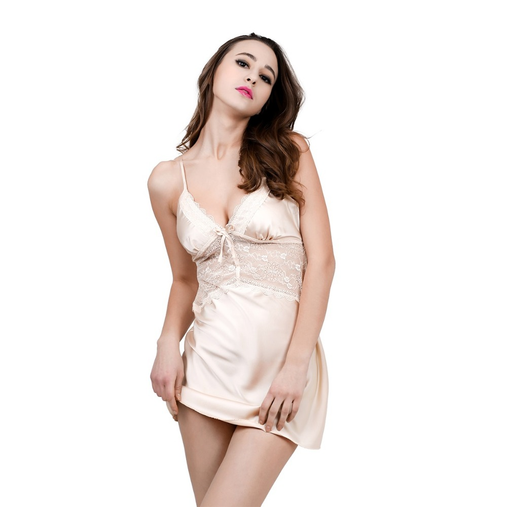 Solid Satin Chiffon Women   Nightgowns   Lace   Sleepshirt   Summer Nightdress Chemises Nightshirt Sexy Sleepwear Nightwear Slips sp0013
