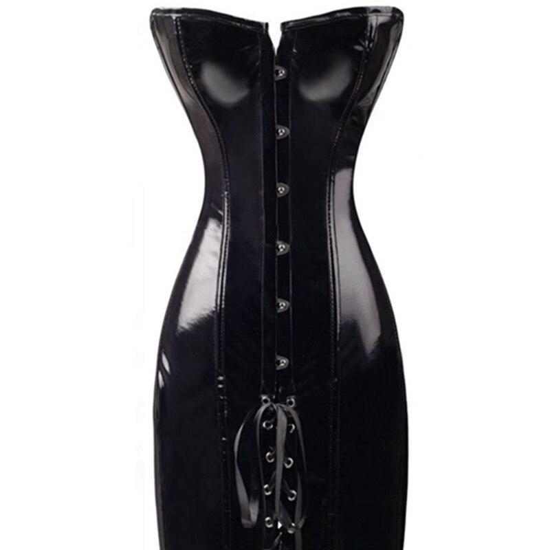 Gothic Qadınlar Seksual Wetlook PVC Faux Dəri Korset Uzun Qara - Alt paltarları - Fotoqrafiya 5