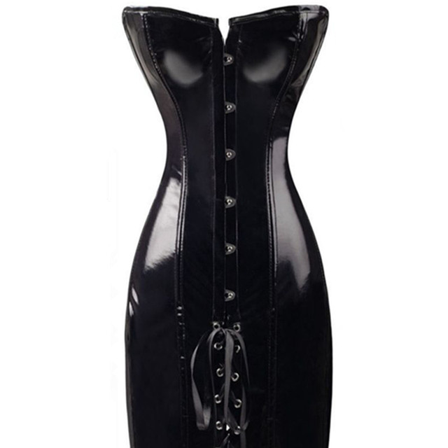 S-2XL Sexy PVC Faux Leather Corset Corset Dress Long Black Red Shape Body Slim Bustiers Overbust Corsets Latex Catsuit CB371632