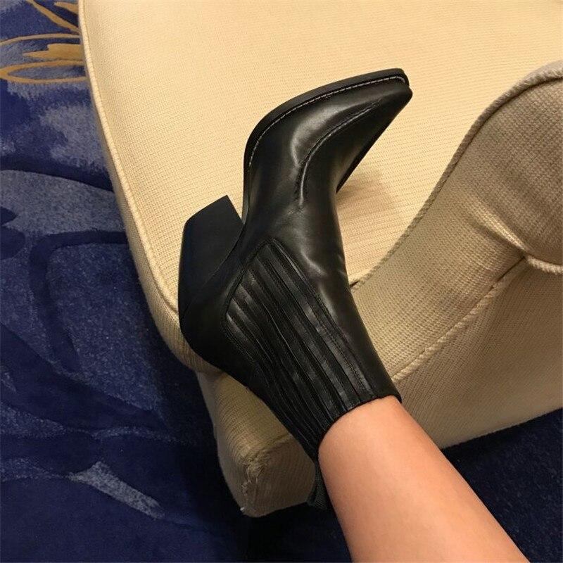 Pointu Peau Qualité Style Piste Black En Cheville D'hiver Chelsea Luchfive Haute Mouton Bout Chaussures Femmes Bottes Courtes Talons De Pour wq7SxgX