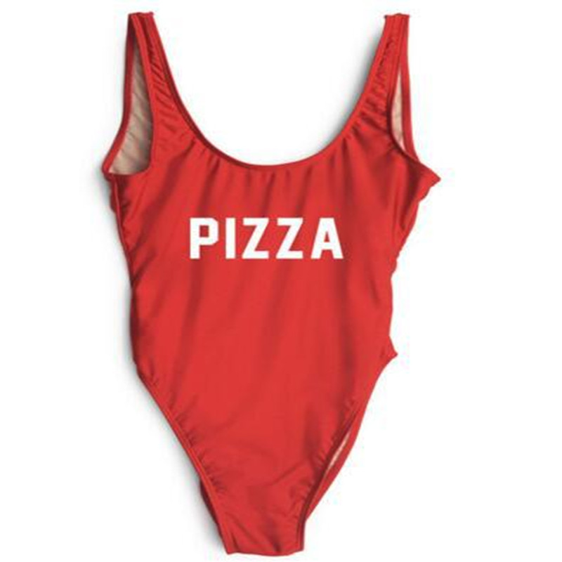 PIZZA Funny Letter Sexy Swim Suit Thong One Piece Swimwear Women Low Back High Cut Monokini Swim Bathing Suit Rompers Bodysuit tequila por favor letter custom swimsuit one piece swimwear bathing suit women sexy bodysuit funny swimsuits jumpsuits rompers
