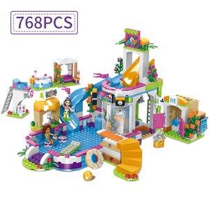 Image 3 - HUIQIBAO 675 pièces amis ville piscine parc aquatique blocs de construction jouets filles ami maison briques à monter soi même jouets ami