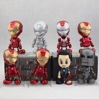 Iron Man Tony Stark MK7 dos MK1 8 cm PVC Bobblehead de cabeça de boneca modelo coleção figuras de ação brinquedos