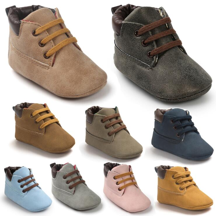 2019 Autumn PU Suede Leather Baby Moccasins Shoes Infant Anti-slip First Walker For Newborn Boys Soft Bottom Baby Booties