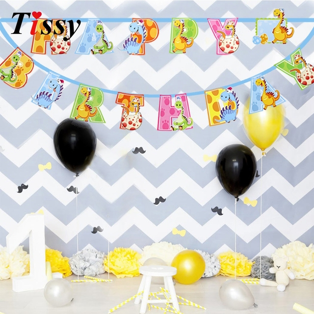 1set Cute Dinosaur Banners Happy Birthday Decorations Baby Shower DIY Paperboard Crafts For Kids Banner Party Supplies
