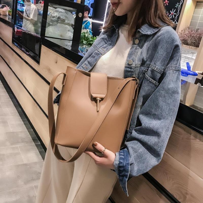 2Pcs/Set Women Shoulder Bucket Bags PU Leather Clutch Crossbody Bag