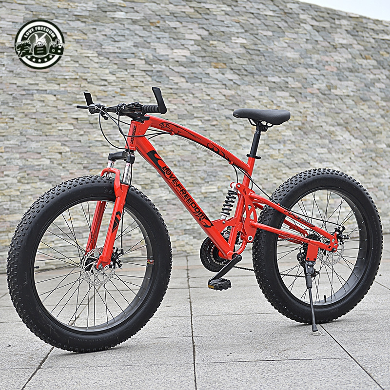 Love Freedom High Quality Bicycle 7/21 / 24 /27 speed Mountain Bike 26 Inch 4.0 fat bike Front and rear shock absorption bicycleLove Freedom High Quality Bicycle 7/21 / 24 /27 speed Mountain Bike 26 Inch 4.0 fat bike Front and rear shock absorption bicycle