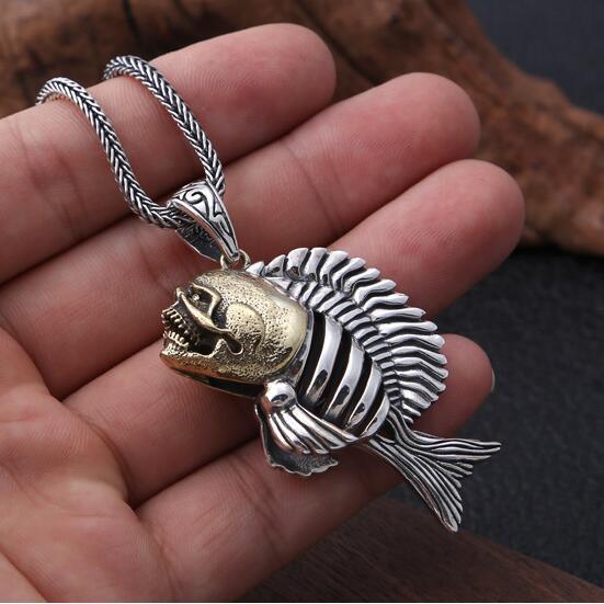 Nouveau pendentif en argent véritable 925 Piranha collier pendentif en argent pur Piranha Punk collier pendentif en Hiphop Sterling