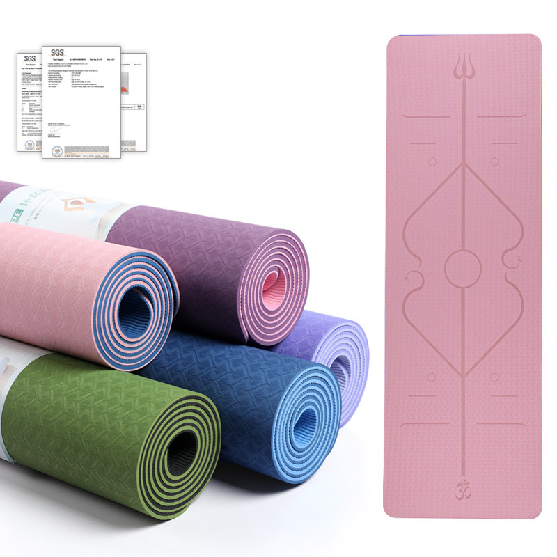 Yoga Mat 6mm TPE Double Color Line Position Body Non Slip Eco-friendly Exercise Sports Mats Thick Pilates Fitness Dance Gym Pad