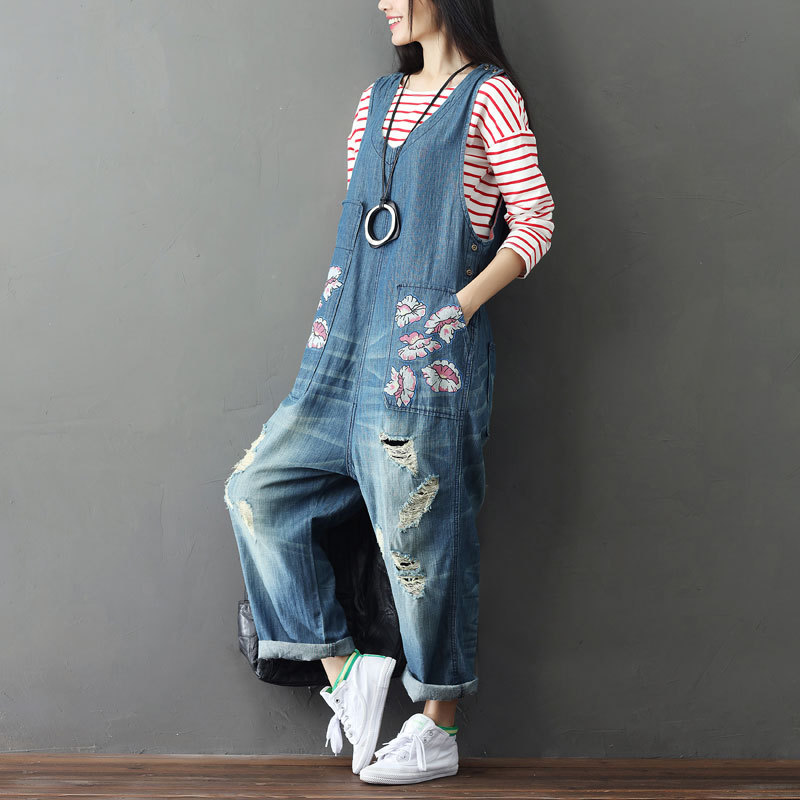 9a6ce108e998 Plus Size Ripped Denim Romper Women Jumpsuit Hole Print Loose Casual  Suspenders Trousers Destroyed Rompers Overalls Femme Bib -in Jumpsuits from  Women s ...