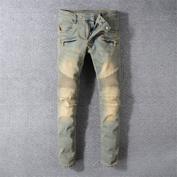 2019 New High Street trend Motorcycle pants Old Worn Yellow Stitching Slim Small Straight Denim trousers More Size 29-40 42