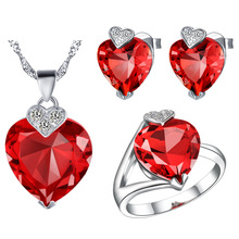 Plated NEW set 925 Sterling Silver custom made pendant ear ring sea heart set in Europe and the United States