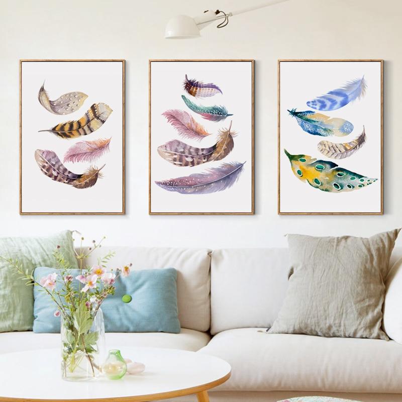 Elegantní poezie nordický akvarel ptáci peří A4 plátno malba - Dekorace interiéru
