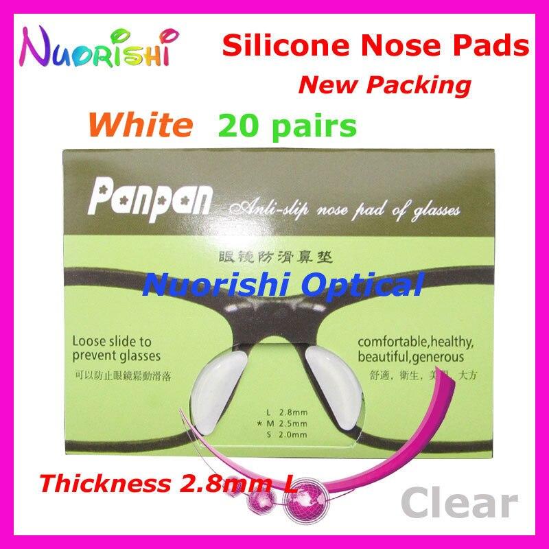 20 пар T2100 анти-скольжения силиконовые увеличивающие рост Носовые фиксирующие накладки Стикеры для ацетат Пластик очки солнцезащитные очки 1,8/2,5/2,8 мм - Цвет: White 28 Thickness