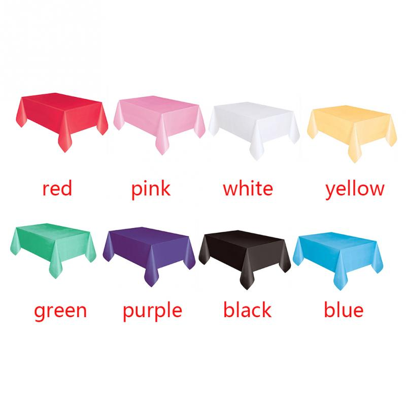 Image 5 - 137x183cm Solid Color Disposable Tablecloth Kids Happy Birthday Wedding Party Tablecover Supplies White Black red yellow-in Disposable Party Tableware from Home & Garden