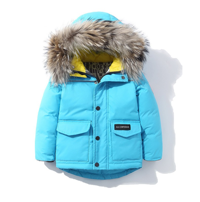 2018 New Child school girl boy jacket fur hooded kids ski down coat thickening jacket for Russia winter 3 6 8Y baby boy girl ka ji en girls down jacket boy child baby jacket wool tie cap thicker coat baby jacket