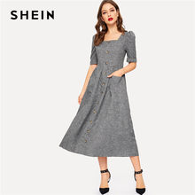 aa59f082db SHEIN Vintage Grey Puff Sleeve Button Up Front Fit And Flare Maxi Dress  Women Square Collar High Waist A line Long Dress