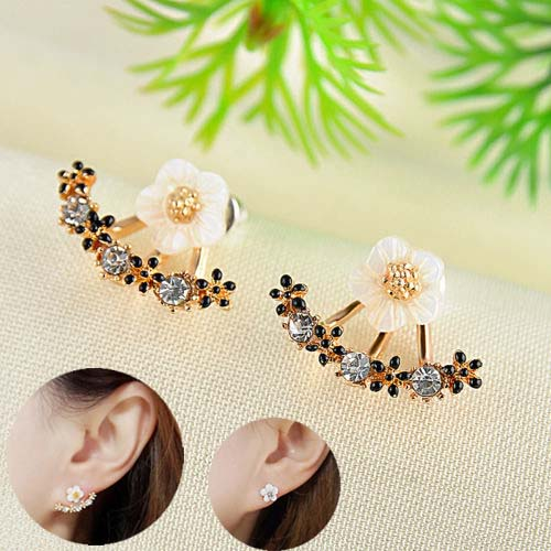 H:HYDE Flower Crystals Stud Earring for Women Rose gold color Double Sided Fashion Jewelry Earrings female Ear brincos