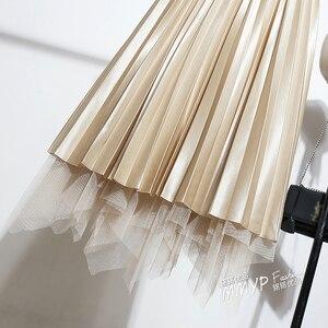 Image 4 - Falda larga plisada de tul Irregular para primavera y otoño, falda de largo de satén plisada, ropa de doble cara, faldas largas de corte en A, plisadas, 2019