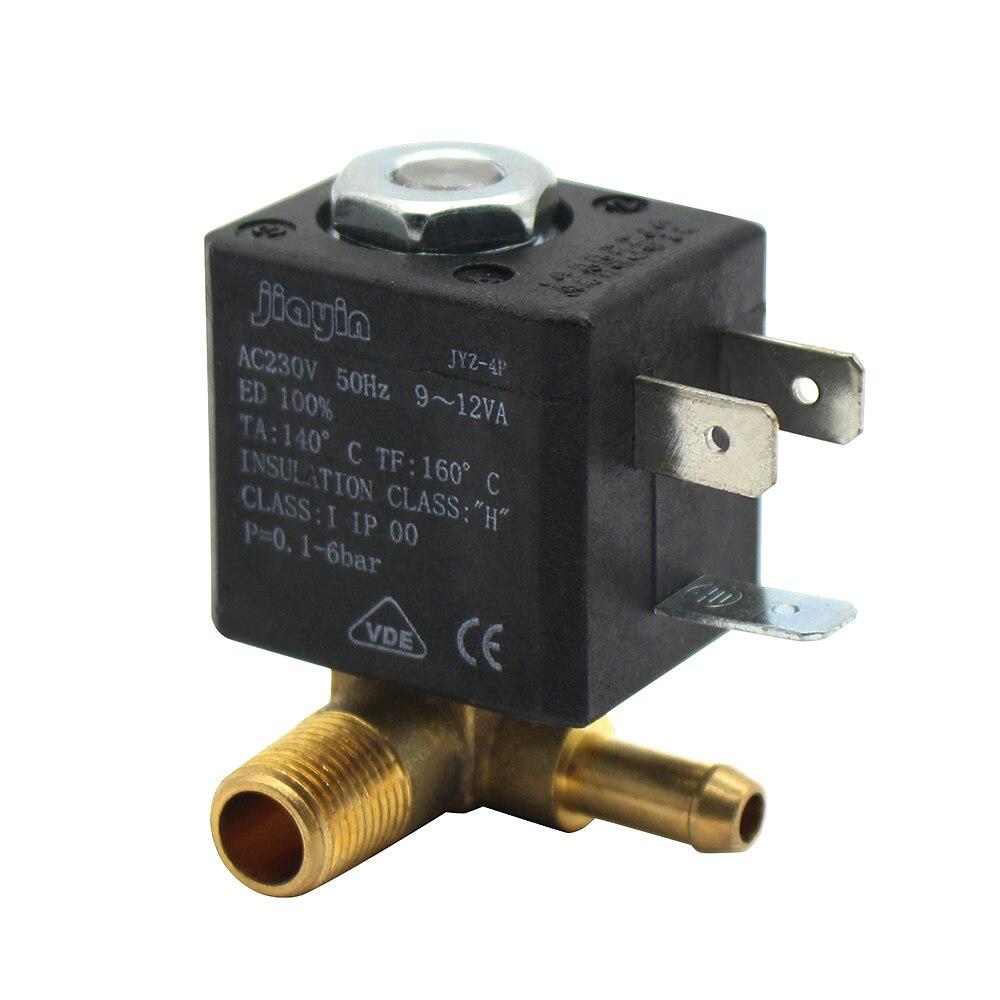 JYZ-4P Normal Geschlossen Kanüle 3mm N/C 2/2 Weg AC 230 v G1/8' Messing Dampf Air generator Wasser Magnetventil Kaffee Makers