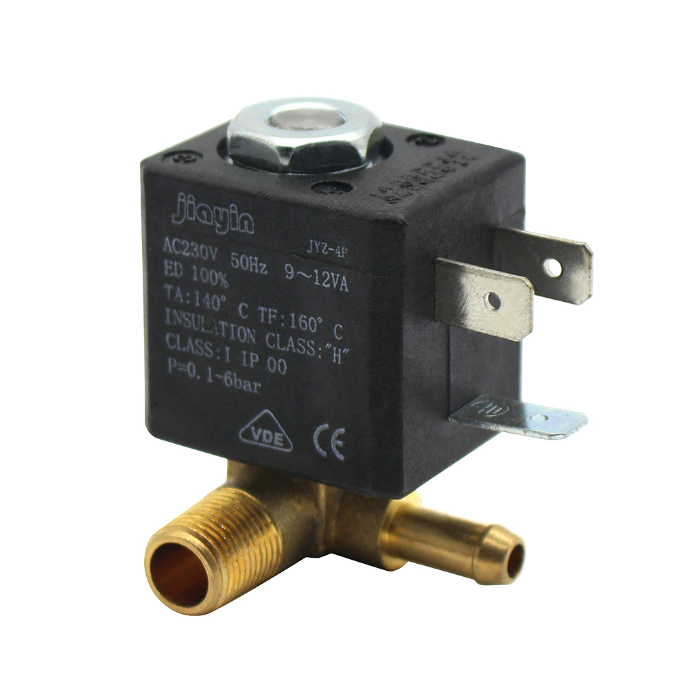JYZ-4P Normally Closed Cannula 3mm N/C 2/2 Way AC 230V G1/8 Brass Steam Air Generator Water Solenoid Valve Coffee MakersJYZ-4P Normally Closed Cannula 3mm N/C 2/2 Way AC 230V G1/8 Brass Steam Air Generator Water Solenoid Valve Coffee Makers
