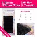 0.15 New curl J B C 5 trays High Quality Individual Mink Eyelash Extension Black Fake False Eyelashes Freeshipping