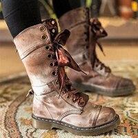 Кожаные сапоги; женские высокие сапоги; осенне-зимние ботинки на шнуровке; большие размеры 36-43; Zapatos De Mujer