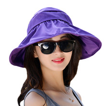 Fashion Face Protection Sun Hat Summer Beach Hats For Women Foldable Anti-UV Wide Big Brim Adjustable Fedora Hat Floppy Cap NO