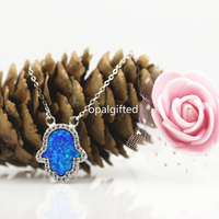 (1pc/lot)Free Shipping 11*13mm White/Blue/Pink Synthetic Hamsa Opal Necklace with CZ with 925 Sterling Silver O chain Necklace